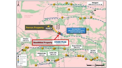 Figure 1: Regional Geology of the Abitibi Greenstone Belt with respect to Starr Peak's NewMétal Property. Source: Amex Exploration. (Note: the total ounces/tonnes noted for each mining camp has not been independently verified by the QP) (CNW Group/Starr Peak Exploration Ltd.)