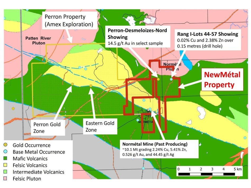 Figure 2: Regional Geological Map of the NewMétal Property with respect to Amex Exploration's Perron Property and the past producing Normétal Mine (CNW Group/Starr Peak Exploration Ltd.)