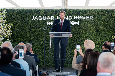 Wolfgang Hoffmann, CEO of Jaguar Land Rover Canada, speaks at Jaguar Land Rover Brampton ground-breaking ceremony. (CNW Group/Zanchin Automotive Group)
