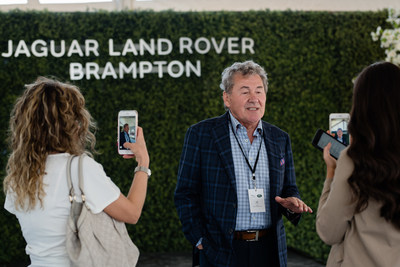 Joe Zanchin, Founder and CEO of Zanchin Automotive Group, is interviewed at Jaguar Land Rover Brampton ground-breaking ceremony. (CNW Group/Zanchin Automotive Group)