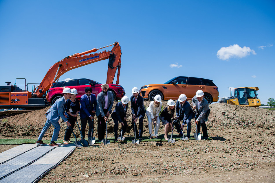 Official ground-breaking of Jaguar Land Rover Brampton. From left to right: GianLuca Filippetti, Product Management, Zanchin Automotive Group; Cathy Zanchin, Zanchin Automotive Group; Councillor Harkirat Singh, City of Brampton; Councillor Gurpreet Dhillon, City of Brampton; Joe Zanchin, Founder and CEO, Zanchin Automotive Group; Wolfgang Hoffmann, CEO, Jaguar Land Rover Canada; Laura Zanchin, EVP, Zanchin Automotive Group; Andria Zanchin, EVP, Zanchin Automotive Group; Paul Gommerman, Director, Network Development and Training, Jaguar Land Rover Canada; Monte Weis, CEO, Weis LGA INC., Architects. (CNW Group/Zanchin Automotive Group)
