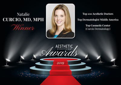"Dr. Natalie Curcio Lands Three Aesthetic Everything® Awards including ""Top Aesthetic Doctor,"" ""#1 Top Dermatologist Middle America"" and ""Top Cosmetic Center"""