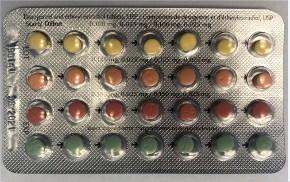 Plaquette alvéolée de Linessa 28 (la dernière rangée de comprimés est constituée de comprimés verts « aide?mémoire » qui ne contiennent pas d'hormones) (Groupe CNW/Santé Canada)