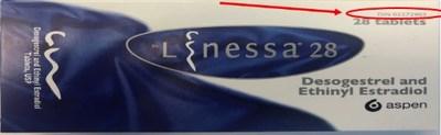 Boîte de Linessa 28 - L'énoncé en anglais indique le DIN 02272903, qui correspond au DIN de Linessa 21 (Groupe CNW/Santé Canada)