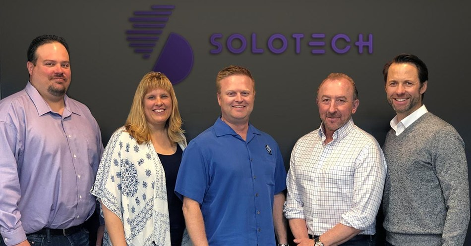From left to right: Larry Bicknell, Arlene Spence, Jason Spence, Paul Owen, Philip Giffard. (CNW Group/Solotech)