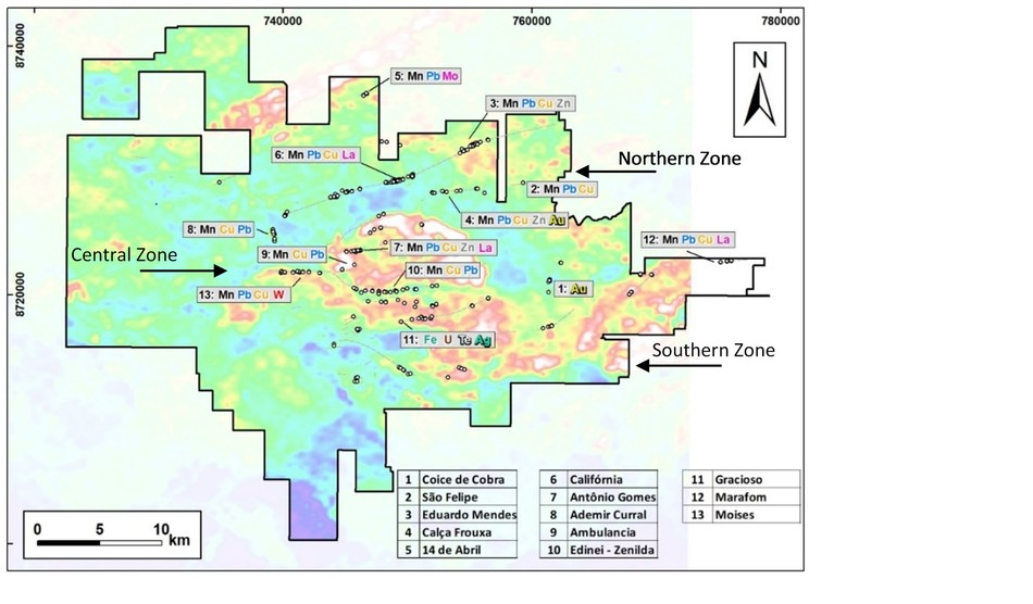 Fig. 1: Location map of prospects referred to with metal associations. (CNW Group/Meridian Mining S.E.)