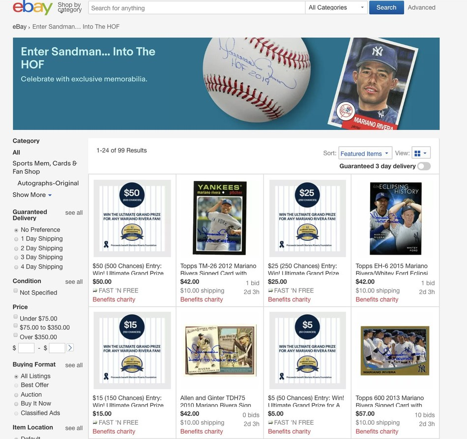 "Fans can shop the ""eBay x Mariano Rivera"" collection of exclusive signed merchandise and one-of-a-kind memorabilia at eBay.com/MarianoRivera. The collection includes hand-signed official baseballs, jerseys and hats, autographed photographs of epic moments, flashy framed signs and wall art, 2019 Hall of Fame memorabilia. Fans can also donate to win a chance to meet ""The Closer"" himself in New York."