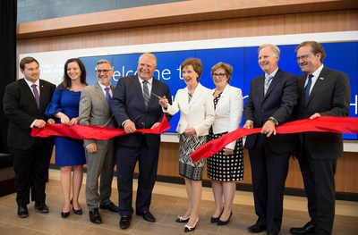 From left to right: Michael Ford Councillor, Ward 1 – City of Toronto; Natalia Kusendova, MPP for Mississauga Centre; Dr. Brendan Carr, President & CEO, Osler; The Honourable Doug Ford, Premier of Ontario and MPP for Etobicoke-North; Jane McMullan, Chair, Osler's Board of Directors;  Robin Martin, Parliamentary Assistant to the Minister of Health and Long-Term Care and MPP Eglinton-Lawrence, Bob Peacock, Chair, Osler Foundation and Ken Mayhew, President & CEO, Osler Foundation. (CNW Group/William Osler Health System)