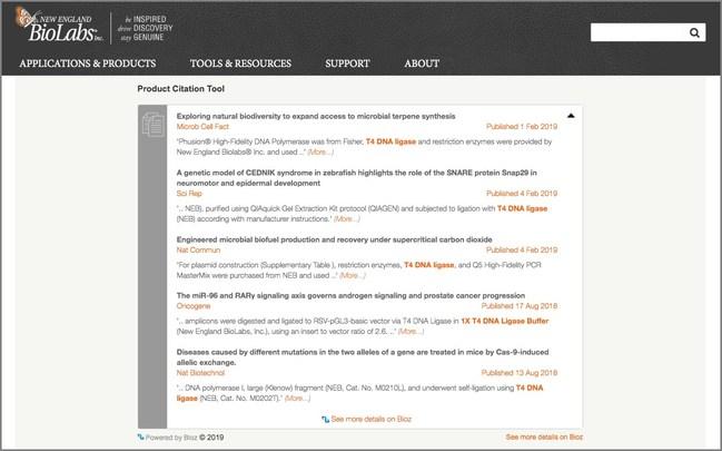 Bioz Badge on NEB's Website