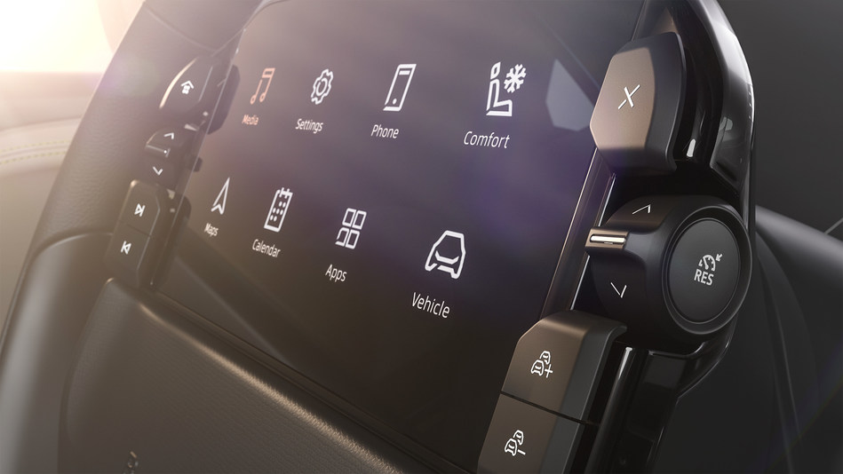 A new glimpse into a central part of the BYTON M-Byte's hardware, a 7-inch Driver Tablet with physical buttons on the steering wheel.