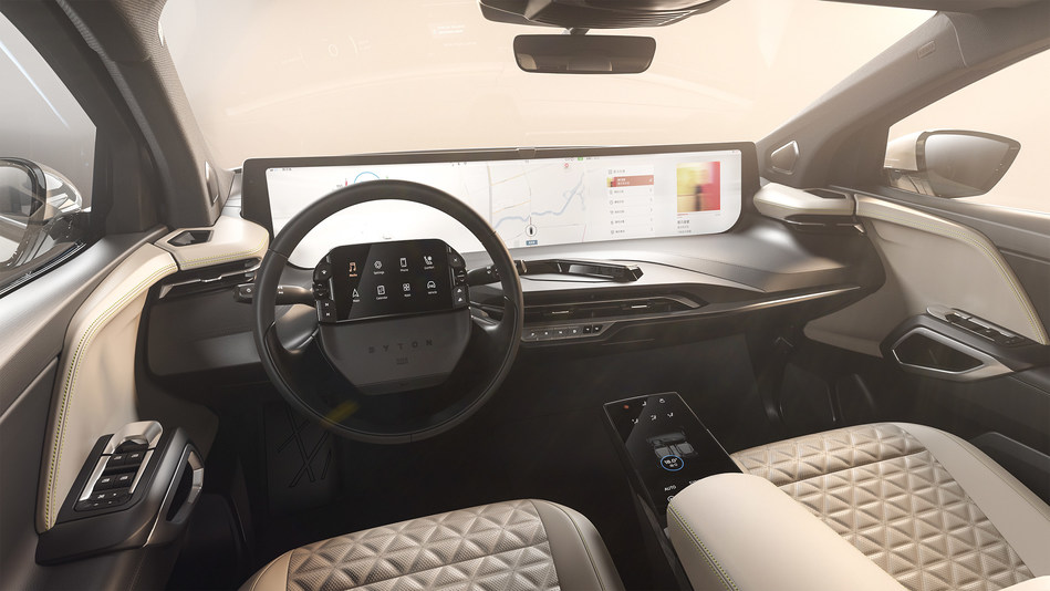 Together, elements reinforce the futuristic and premium aesthetic of the BYTON M-Byte's high-tech digital cockpit.