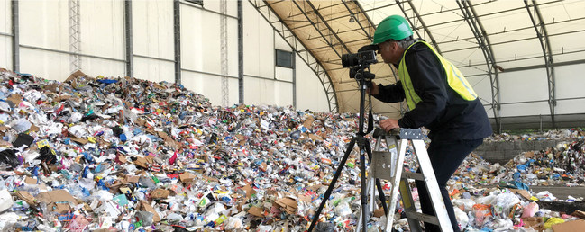 Exploring the lifecycle of plastics by Edward Burtynsky on location at a Toronto transfer station shooting for The Anthropocene Education Program, May 2019 (CNW Group/Royal Canadian Geographical Society)