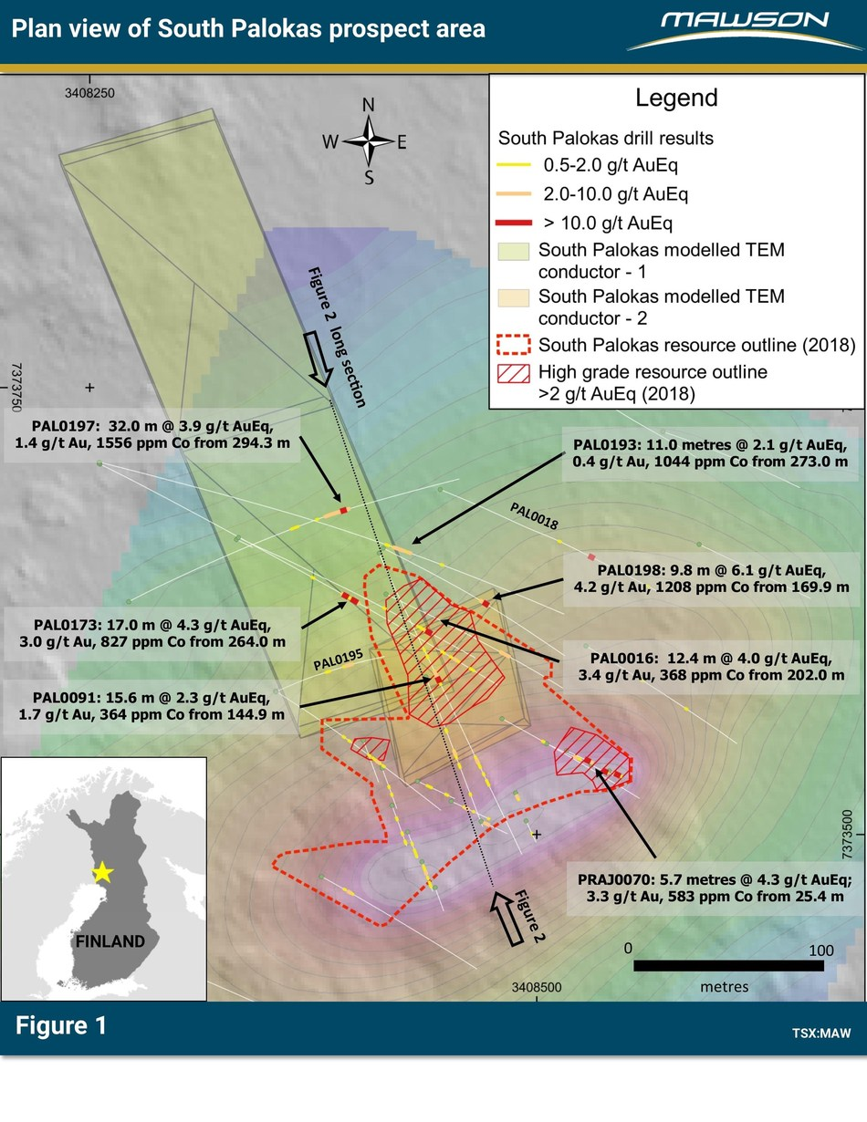 Figure 1: Plan of South Palokas prospect area indicating drill results, the outline of 43-101 resource (blocks above 2 g/t AuEq), modelled ground TEM plates over Lidar background with superimposed mise-á-la-masse contours (note the strong correlation of width of near-surface conductor and 2018 resource boundary). For more detailed location information, refer to press release of April 23, 2019. Note that Figure 3 is essentially a view down onto the plane of the northwest dipping TEM conductors. (CNW Group/Mawson Resources Ltd.)