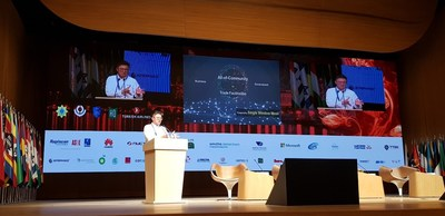 Mr Chong Kok Keong, CEO of GeTS introducing the Single Window Mesh at the World Customs Organisation IT/TI Conference and Exhibition in Baku, Azerbaijan.