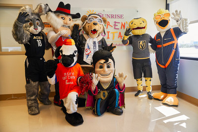 Las Vegas mascots teamed up on June 12, 2019, at Sunrise Children's Hospital in Las Vegas to welcome the new mascot for national medical flight charity Miracle Flights, Miles the Bear.