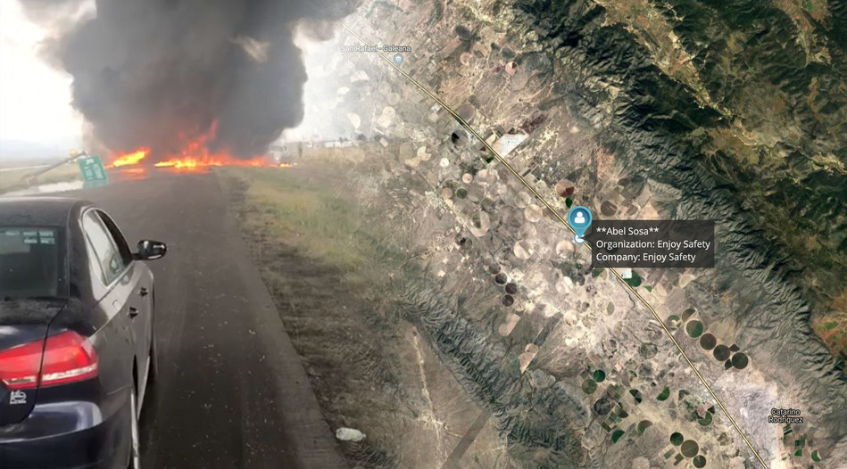 G7 aids in rescue after a fiery collision took place in remote Mexico. (CNW Group/Blackline Safety Corp.)