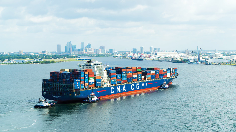 Port Tampa Bay welcomed its largest container ship ever, the CMA-CGM DALILA early Wednesday morning.