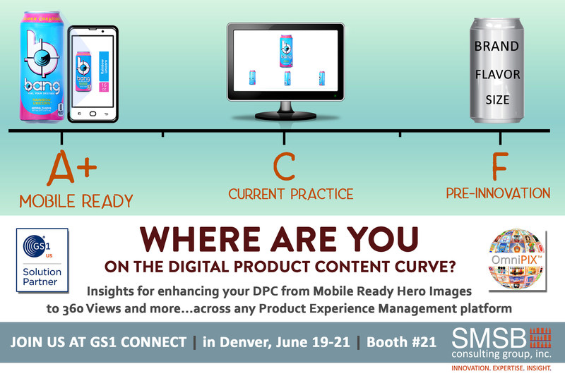 SMSB Consulting Group presenting at this year's GS1 Connect 2019 brings insight to leveraging GS1 standards to improve digital product content of online commerce with its Product Experience Management platform for use across all retail touch points of interactivity with shoppers and consumers