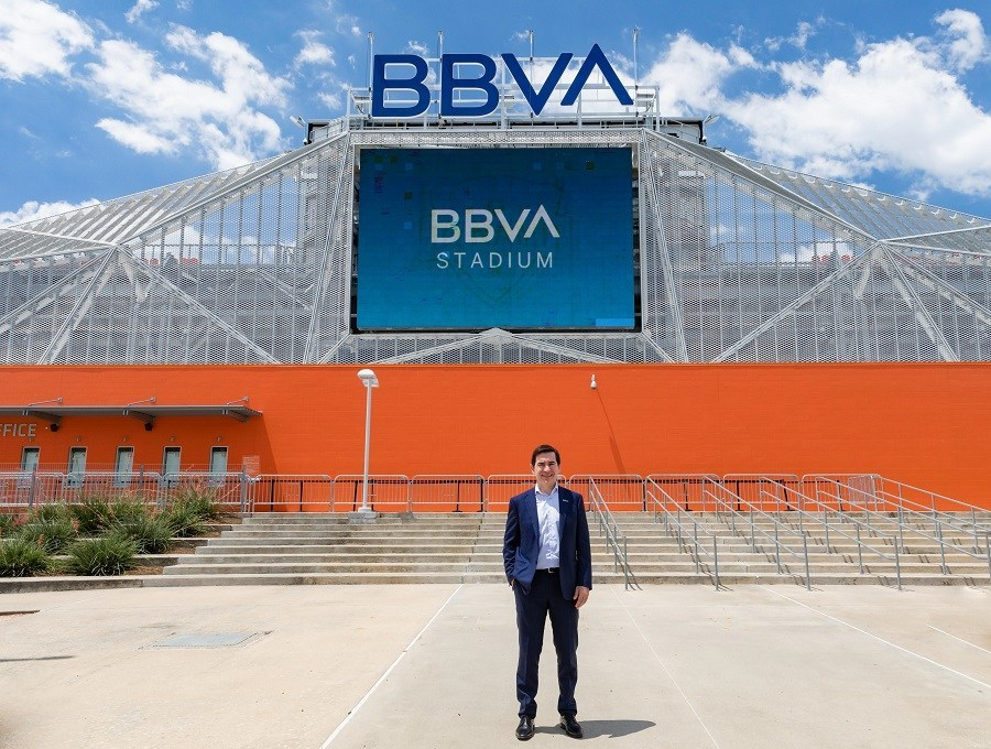 BBVA Group Executive Chairman Carlos Torres Vila outside of BBVA Stadium in Houston.