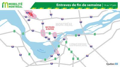 Carte générale des entraves, fin de semaine du 14juin (Groupe CNW/Ministère des Transports)