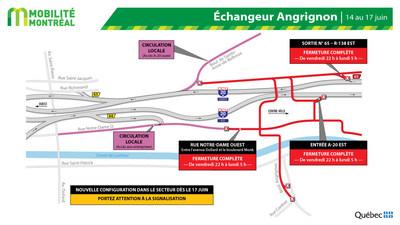 Entraves secteur boulevard Angrignon, fin de semaine du 14 juin (Groupe CNW/Ministère des Transports)