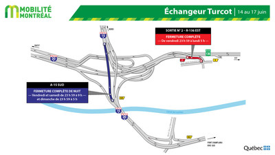 Entraves dans l'échangeur Turcot, fin de semaine du 14 juin (Groupe CNW/Ministère des Transports)