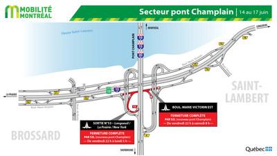 Entraves secteur du pont Champlain à Brossard, fin de semaine du 14 juin (Groupe CNW/Ministère des Transports)