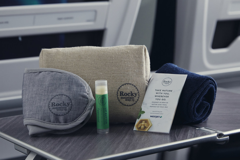 Canmore's Rocky Mountain Soap Company Premium Cabin amenities (CNW Group/WESTJET, an Alberta Partnership)