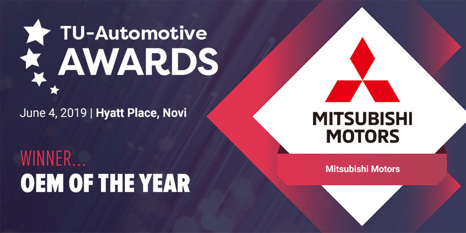Mitsubishi Motors recognized as 2019 OEM of the Year at the TU-Automotive Awards for Mitsubishi Road Assist+ app.