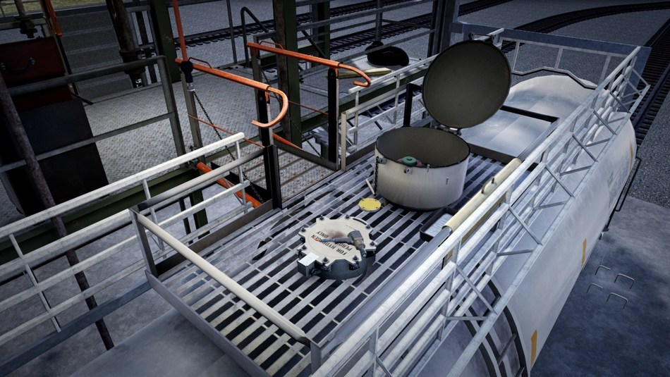Image from simulation showing railcar chemical loading/unloading.