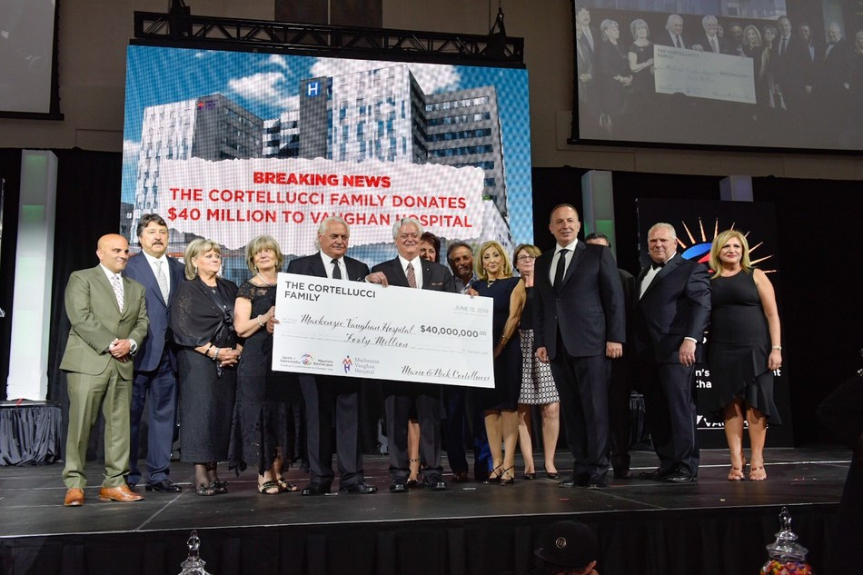 Mayor Bevilacqua announces that the Cortellucci family has donated a historic $40 million toward building the new Mackenzie Vaughan Hospital. (CNW Group/City of Vaughan)