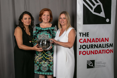 Connie Walker, Jennifer Fowler and Marnie Luke accepted the CJF Jackman Award for Excellence in Journalism Award in the large media category for the CBC News podcast Missing & Murdered: Finding Cleo at the Canadian Journalism Foundation Awards. For their work, Walker and the team were also the recipients of The Landsberg Award. The awards ceremony took place at the Fairmont Royal York hotel in Toronto. Photo Credit: Ania Potyrala/CP Images/The Canadian Journalism Foundation (CNW Group/Canadian Journalism Foundation)