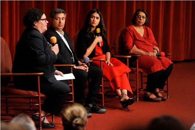 "Patricia Hanson, Racine County District Attorney (left to right); Tabrez Noorani, director and producer; Mrunal Thakur, actor; and Ruchira Gupta, founder and CEO of Apne Aap Women Worldwide discuss the issue of human trafficking during a screening of the acclaimed film ""Love Sonia"" at the Golden Rondelle Theater at SC Johnson's global headquarters."