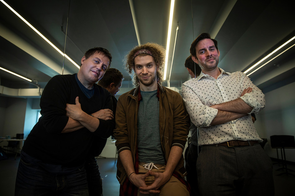 """(from left) Jeff Whiting, director, Nat Zegree, music and lyrics, and Eric Holmes, writer pose for a portrait after rehearsals for """"Fly More Than You Fall"""" at Open Jar Studios in New York City, NY  Wednesday, June 12, 2019 (August Miller, UVU Marketing)"""