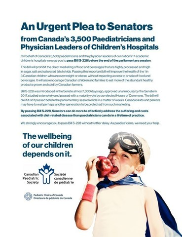 Image of the call-to-action, urging Senators to pass Bill S-228 before the end of the parliamentary session. (CNW Group/Heart and Stroke Foundation)
