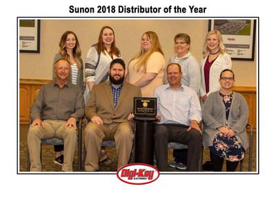 Digi-Key Team with the Sunon Distributor of the Year Award