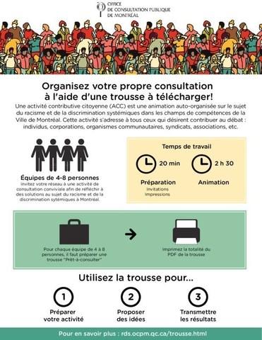 Racisme et discrimination systémiques dans les compétences de la Ville de Montréal : organisez votre propre consultation à l'aide d'une trousse à télécharger! (Groupe CNW/Office de consultation publique de Montréal)