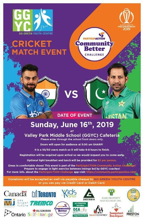 GGYC's Crazy for Cricket Event Celebrating ICC World Cup Match between Arch Rivals India and Pakistan (CNW Group/Go Green Youth Centre)