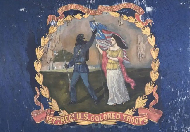The Atlanta History Center acquired the regimental flag of the 127th United States Colored Troops (USCT), a rare and important Civil War artifact, at auction on Thursday. One of fewer than 25 known examples carried by African American regiments during the war, the flag helps the Atlanta History Center expand its narrative about African American service during the Civil War. The purchase price was $196,800. Credit/Morphy Auctions