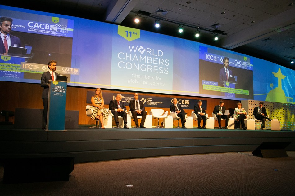 H.E. Hamad Buamim, President & CEO of Dubai Chamber of Commerce and Industry and Chairman of the ICC World Chambers Federation, addresses delegates at the 11th World Chambers Congress (WCC) in Rio de Janeiro. (PRNewsfoto/Dubai Chamber of Commerce)