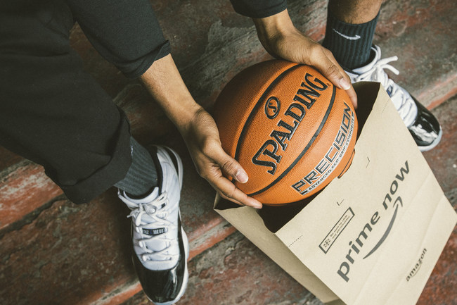 Spalding will make its Precision model basketball available on Amazon's Prime Now in more than 30 U.S. cities just in time for Go Hoop Day