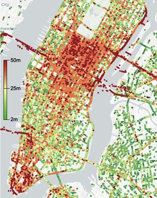 Accuracy of GPS data crowd-sourced from over 250K driving hours in NYC.