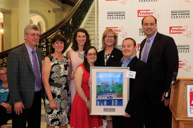 From right: Sen. Jamie Eldridge, artist Michael Avakian, Sen. Joan Lovely, Molly Adams and members of the Adams Family