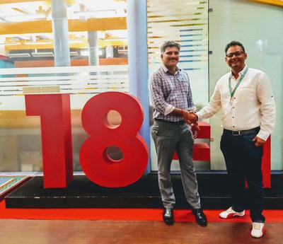(from L to R) Mr. S. Venkatraman, VP of Teleport & Newsgathering, TV18 with Mr. Ranjit Bhatti, Director at LiveU - South Asia