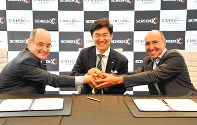 (Right,Left) Carlos Fernandez and Jaime Tarrazón, CEOs of Cines Filmax Gran Via / (Center) JongRyul Kim, CEO of CJ 4DPLEX