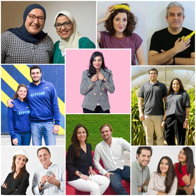 Womena selects eight startups for Cycle 2 of Womentum, a women in tech accelerator by womena, in partnership with Standard Chartered. Clockwise from top left: Chefaa, MakerBrane, Pas-sport, Luxury Promise, FreshSource, MAJ Solution, Dimension 14, and Dabchy.