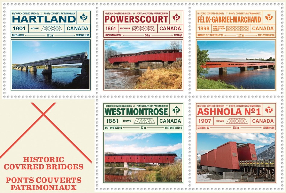 Historic covered bridges in Canada. (CNW Group/Canada Post)