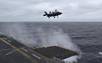 F-35B lands on USS Wasp using Raytheon's Joint Precision Approach and Landing System.