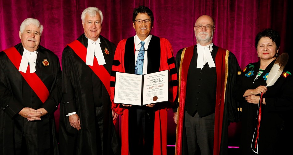 Ovide Mercredi (centre) is congratulated upon receiving an honorary LLD from the  Law Society of Ontario (LSO) at its Call to the Bar ceremony in Ottawa on June 17. Left to right: The Hon. James McNamara, Regional Senior Judge for East Region; The Hon. Paul Schabas, Ontario Superior Court of Justice (and former LSO Treasurer);  Ovide Mercredi; Malcolm Mercer, LSO Treasurer; and Elder, Professor Claudette Commanda. (CNW Group/The Law Society of Ontario)