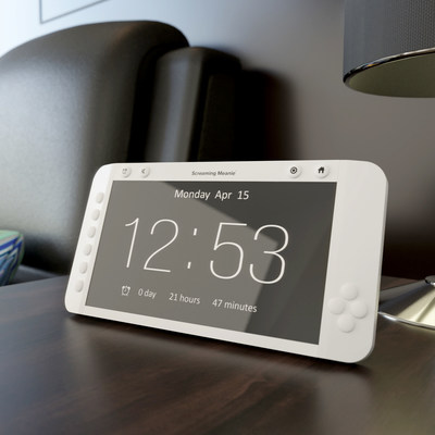 """Forte, a 9"""" display alarm clock with adjustable volume and many features designed for the elderly"""
